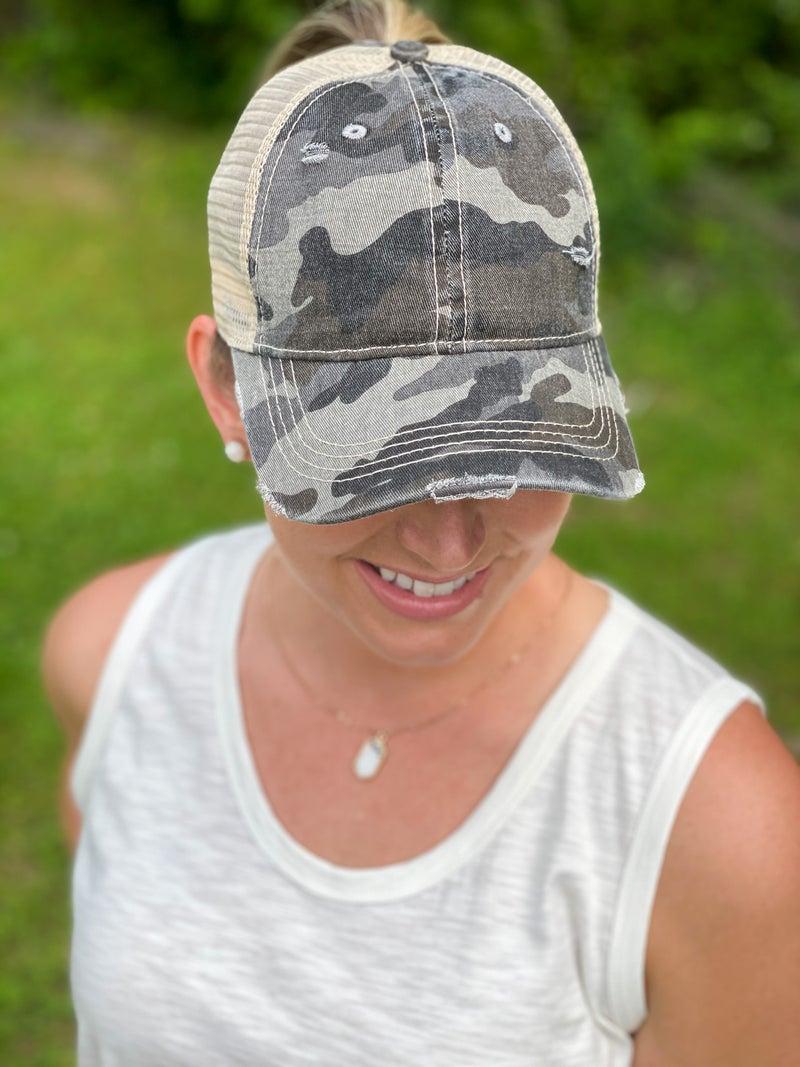 Distressed Camo Hat