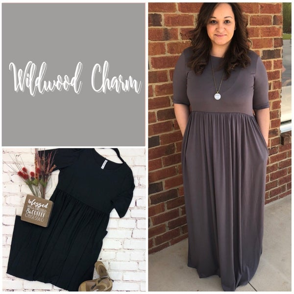 Plus Size Maxi Dress with Pleats- Door Buster!