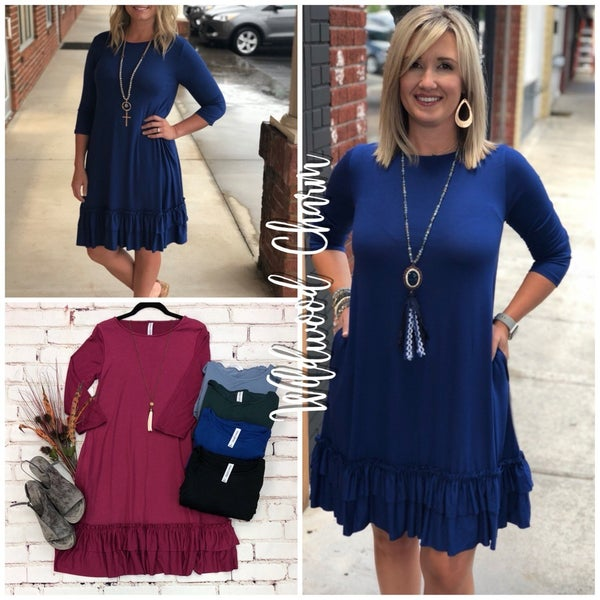 3/4 Sleeve Ruffle Dress