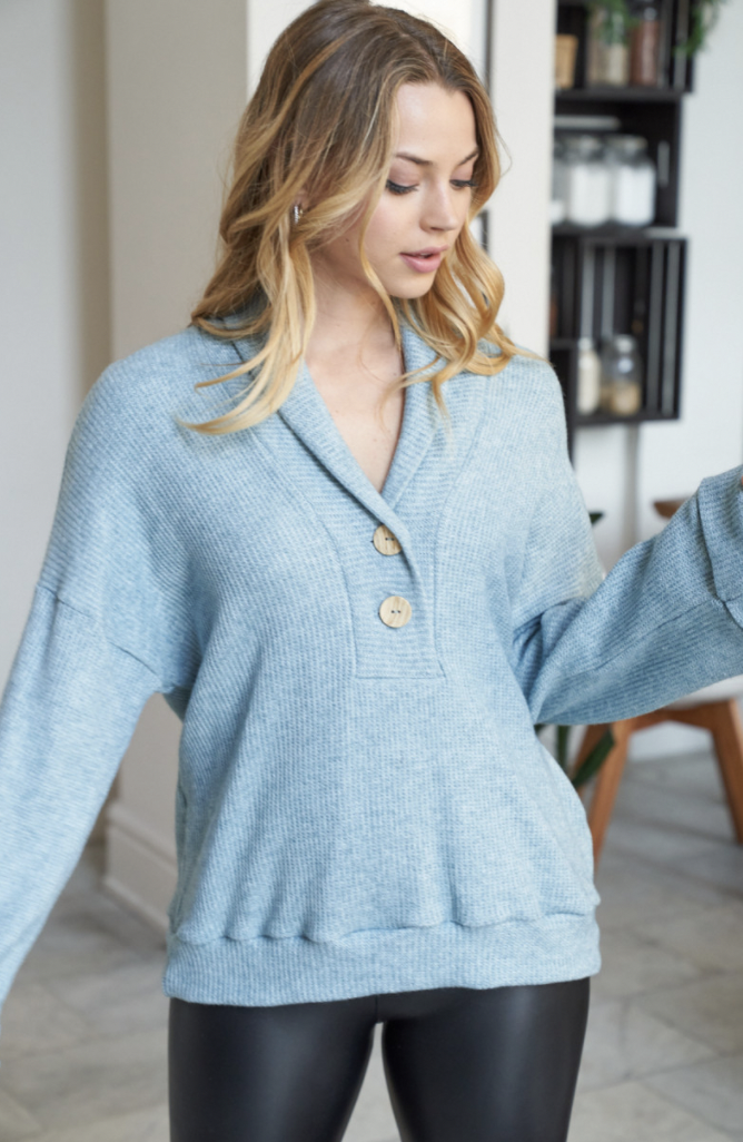 White Birch layering top with buttons
