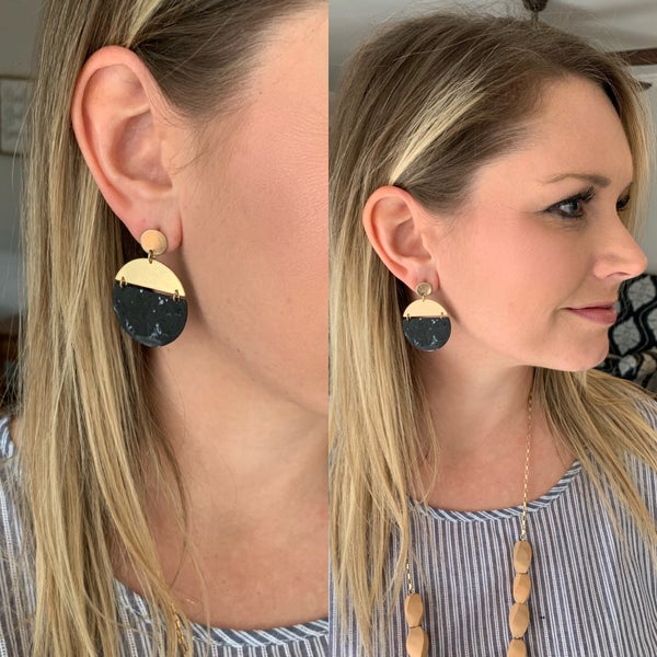 Black Gold Disk Earrings