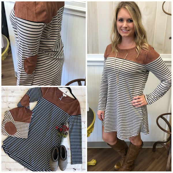Striped Pocket Dress with Elbow Patches