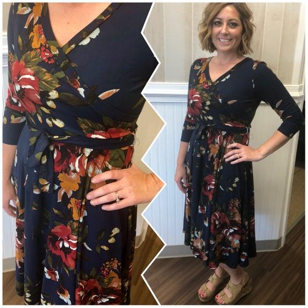 Fall Midi Wrap Dress