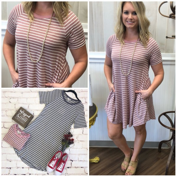 Washed Striped Dress with Pockets