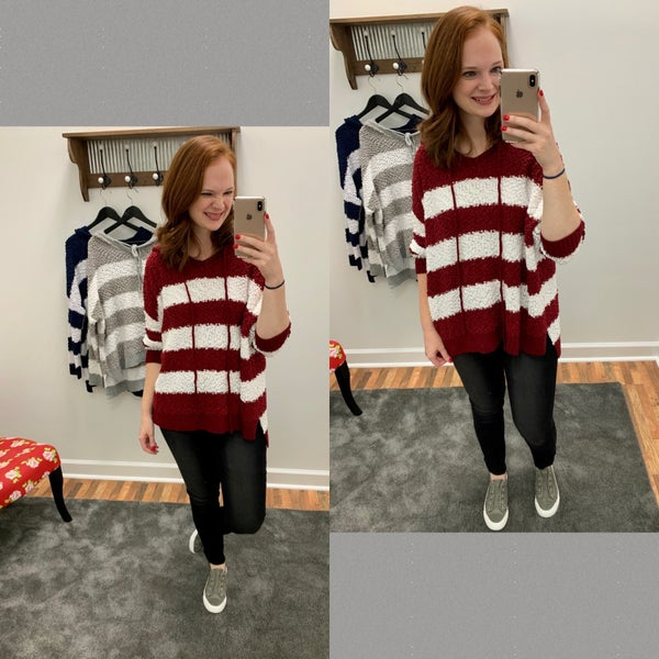 Color block popcorn pullover