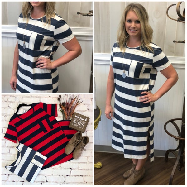 Striped High/low tee dress with Pockets