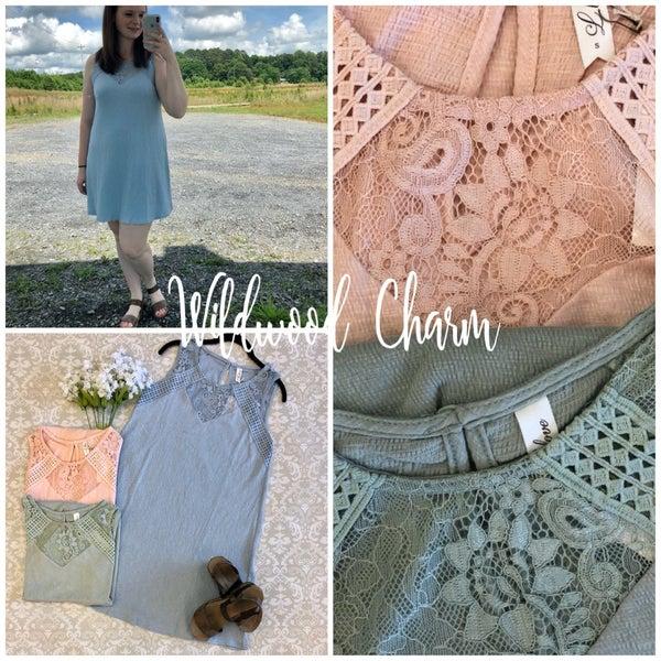 Sleeveless Dress with Lace Neckline