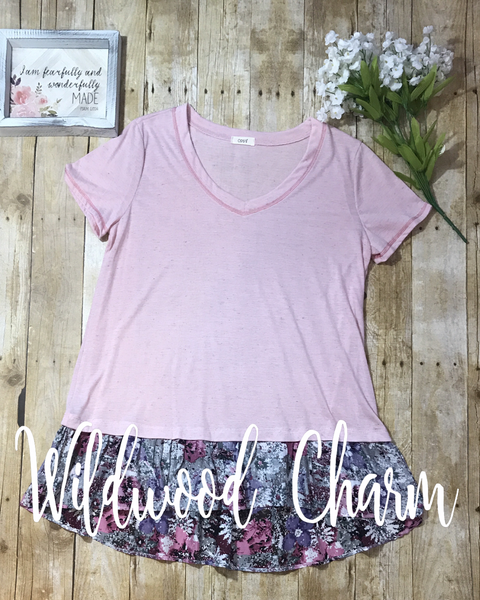 Pink Top with floral ruffle