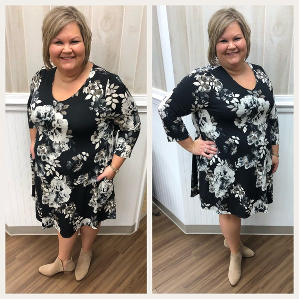 Honeyme Dress-Black and Taupe