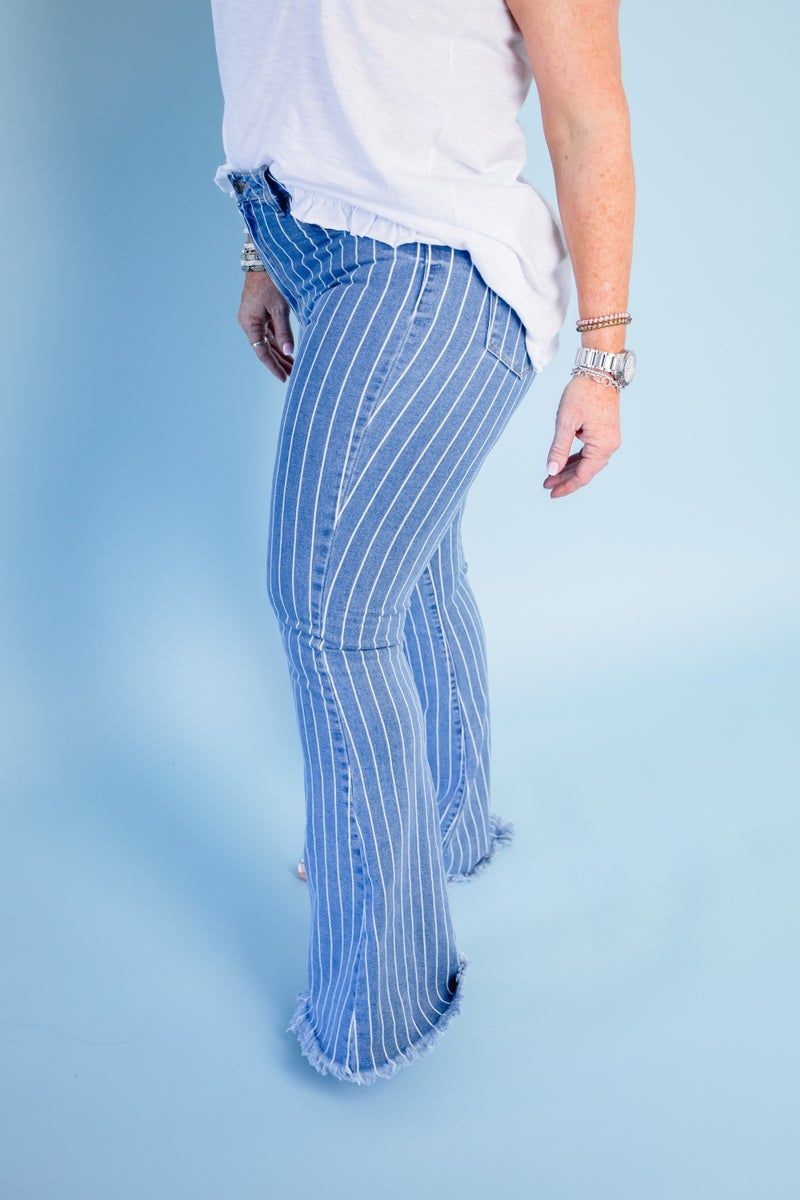 Denim Pin Stripe Flares