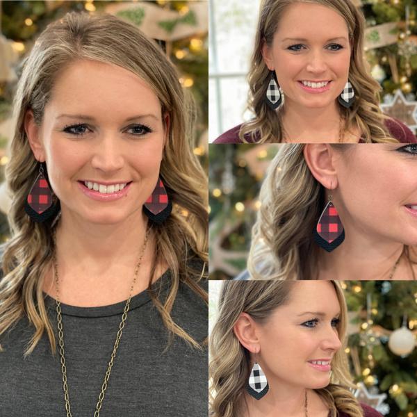 Buffalo plaid earrings (black Friday)