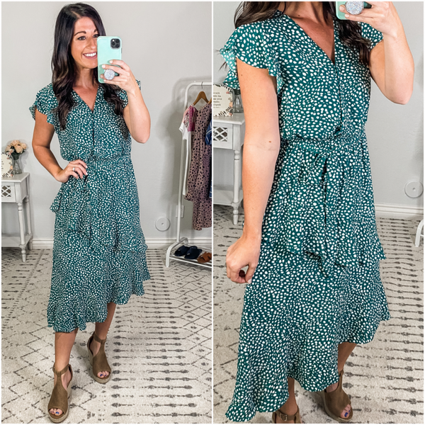 {Green Flounce Ruffle Midi Dress} *Final Sale*