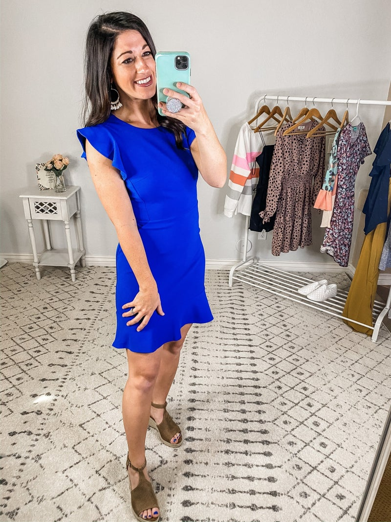 {Blue Ruffled Knit Dress} *Final Sale*