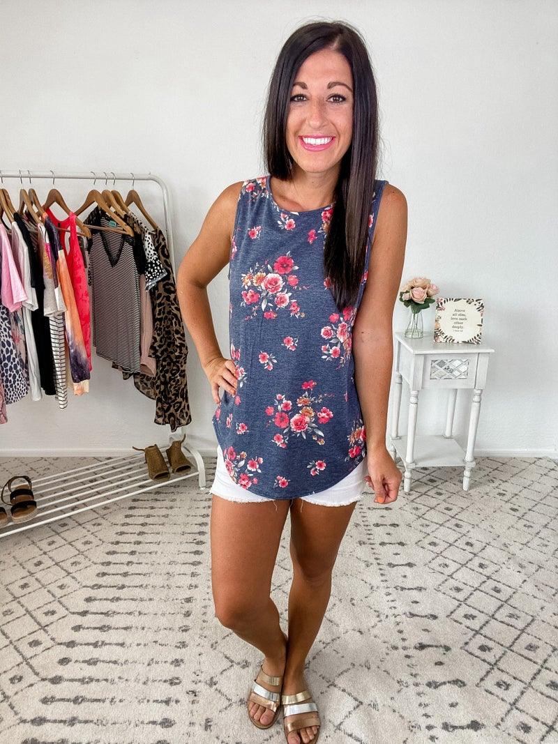 {Navy Sleeveless Floral} *Final Sale*