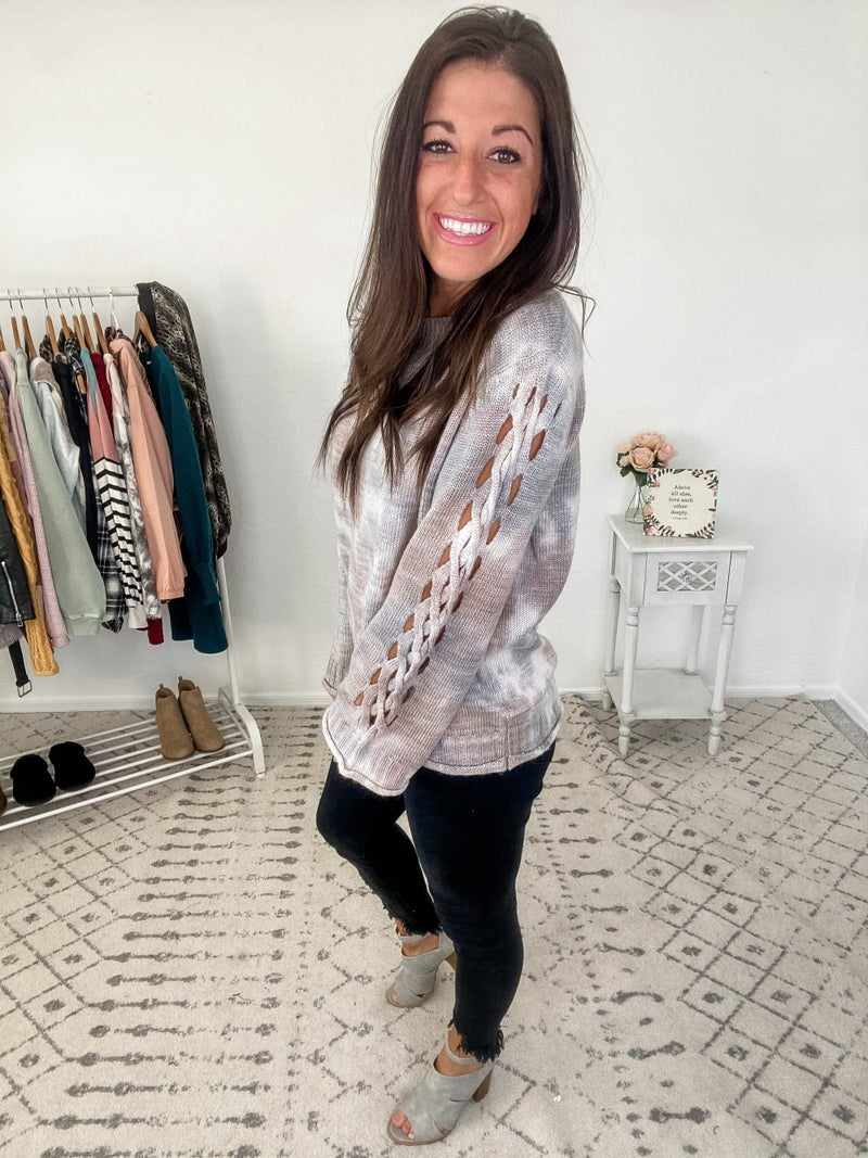 {Lattice Sleeve Tie Dye Sweater}
