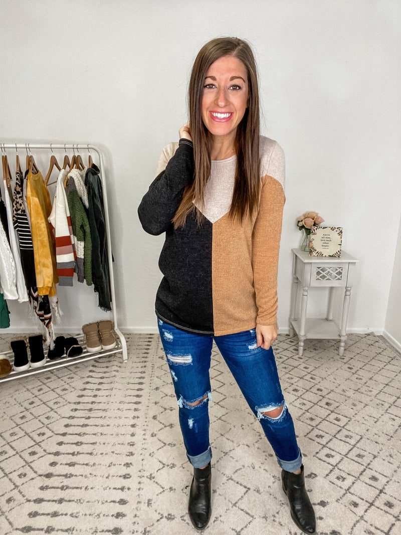 {Black and Mustard Top}