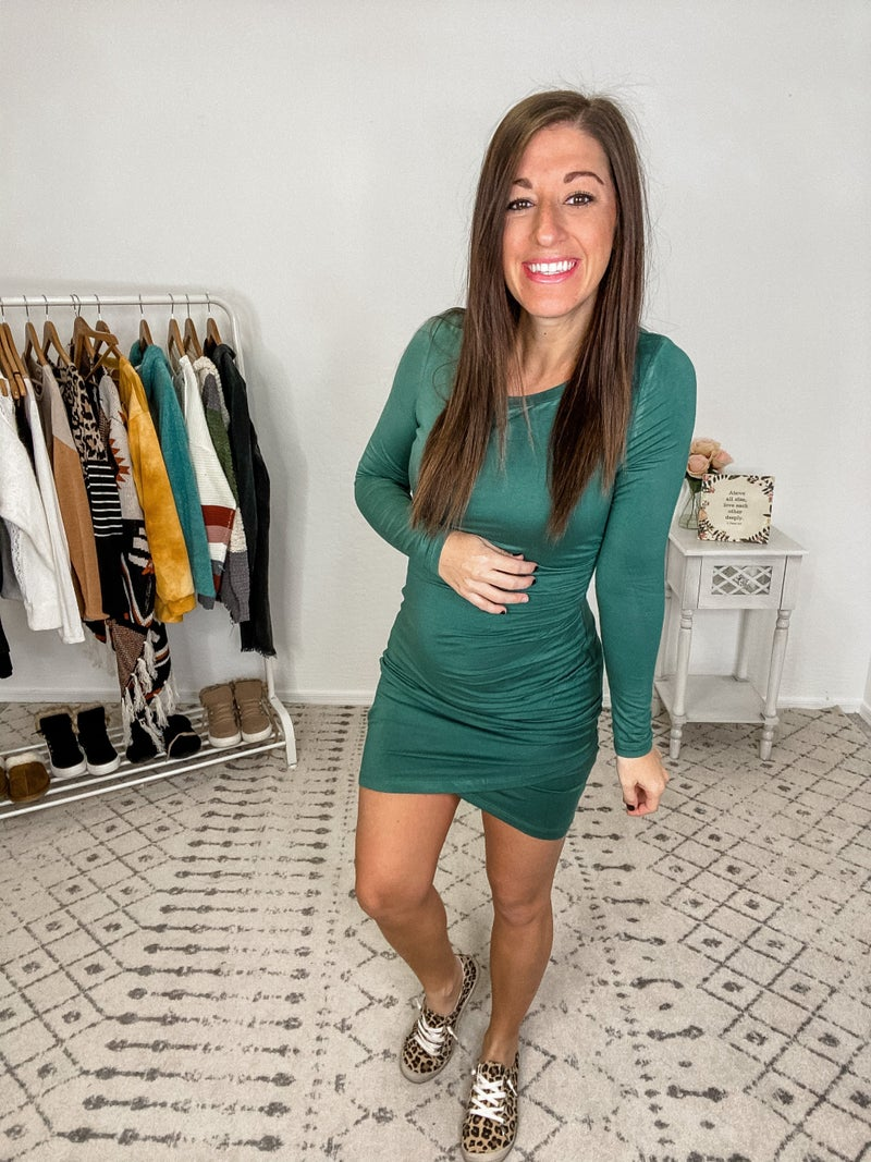 {Green Ruched Body Con}