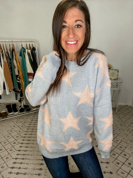 {Grey Fluffy Star Sweater} *Final Sale*