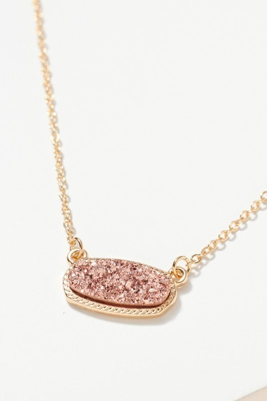 {Druzy Stone Charm Necklace}