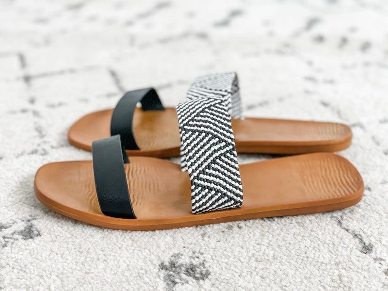 {Black White Strap Sandals}
