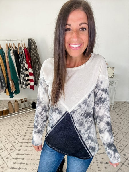 {Charcoal Tie Dye Crossed Top} *Final Sale*