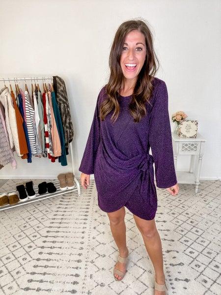 {Shimmer Purple Tie Dress} *Final Sale*