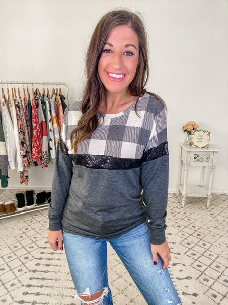 {Plaid Sequins Top} *Final Sale*