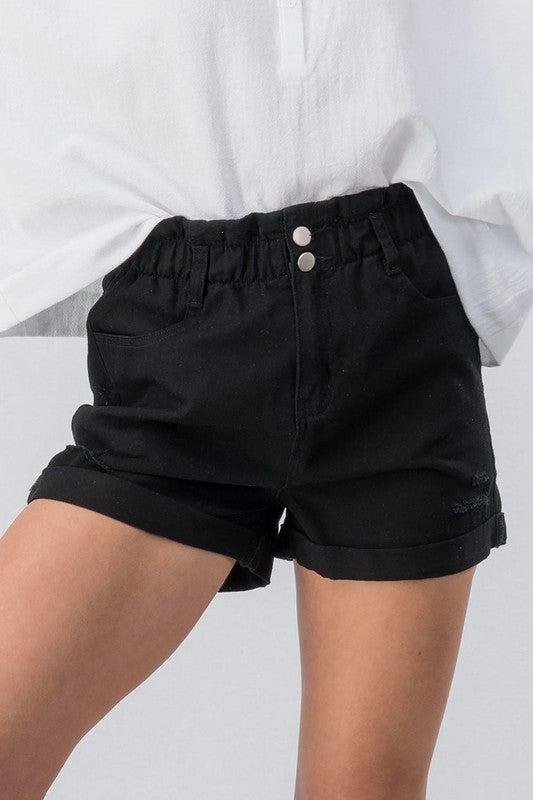 {Black High Waisted Bag Shorts} *Final Sale*