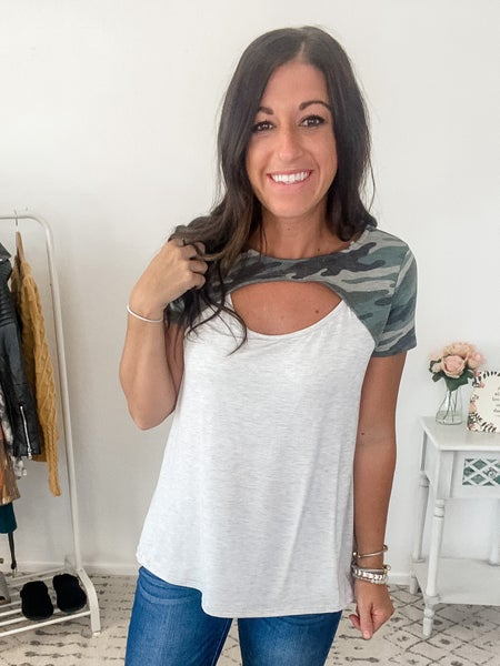 {Camo Cut Out Top}