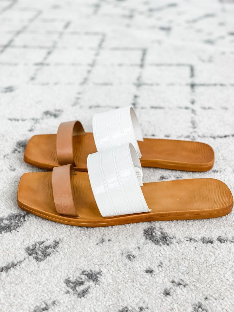 {Tan White Strap Sandals}