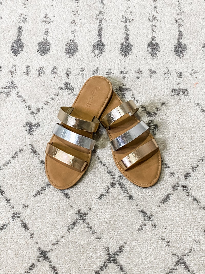 {Metallic Strips Sandals} *Final Sale*