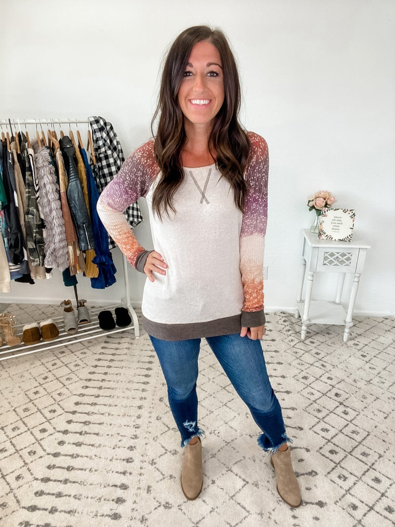 {Ombre Sleeve Brushed Top}