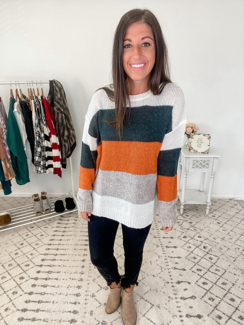 {Multi Stripe Long Sweater}