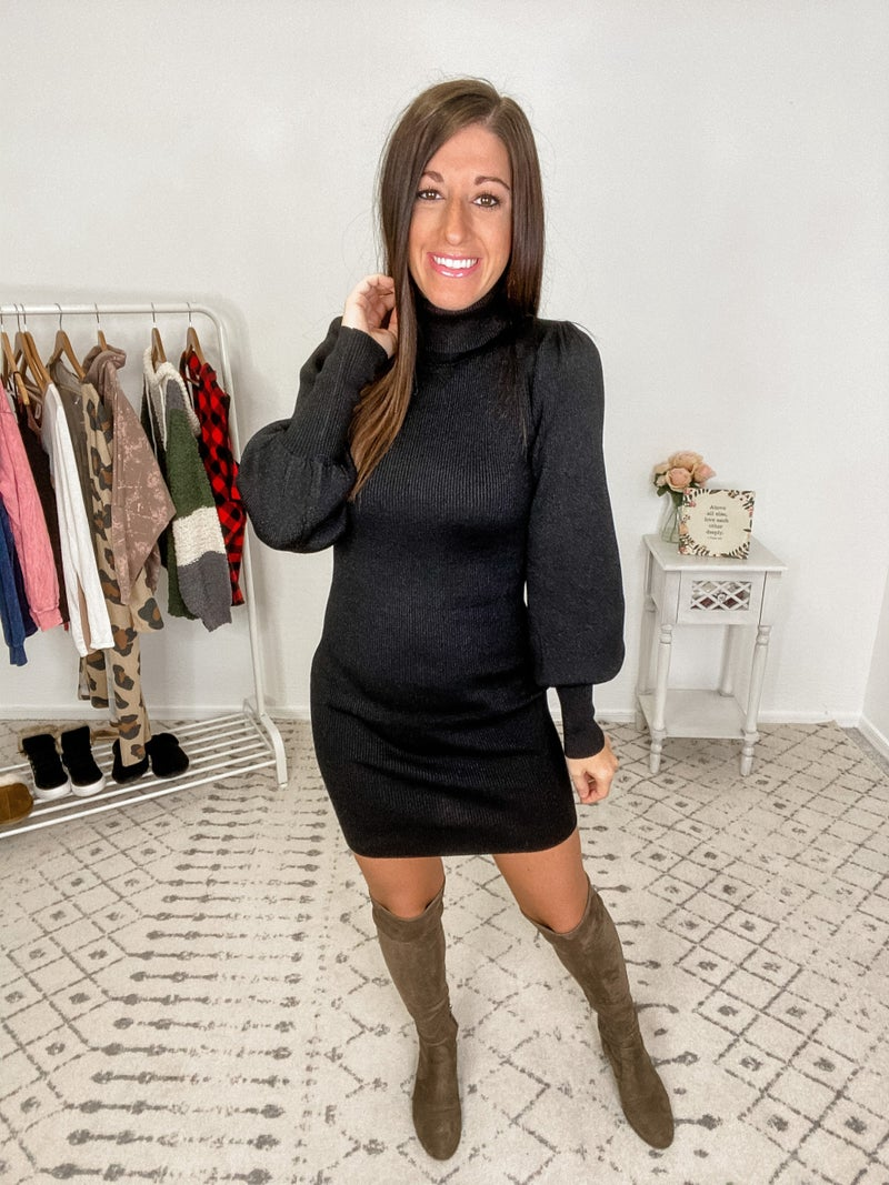 {Ribbed Turtle Puff Dress} *Final Sale*