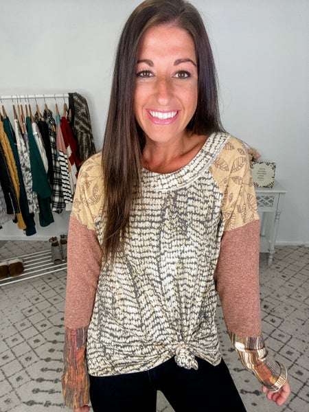 {Mustard Patterned Top} *Final Sale*