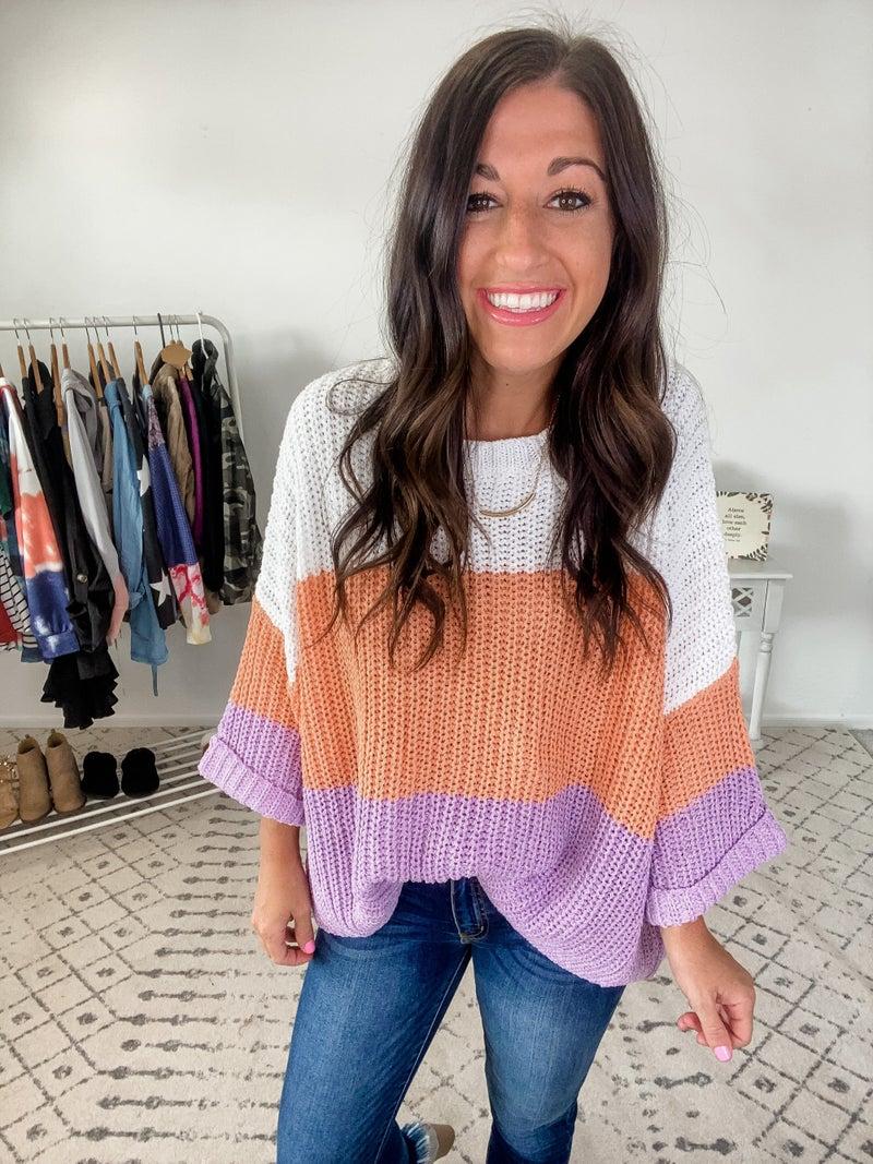 {Oversized Color Block Sweater}