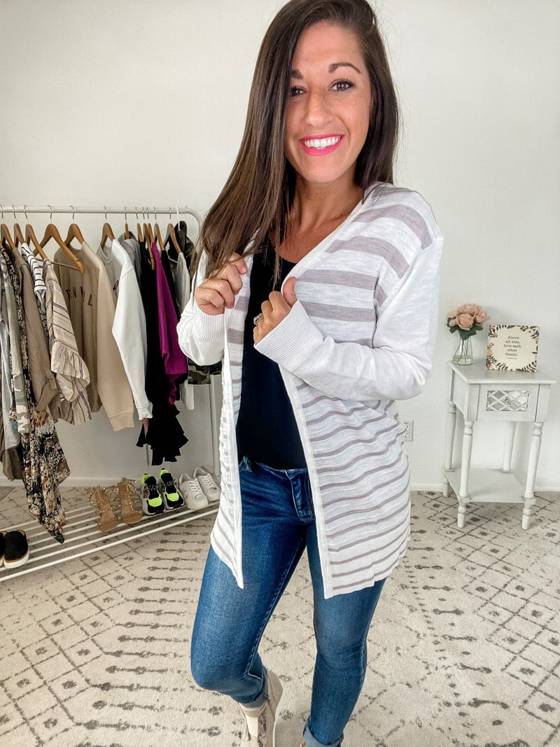 {Striped Front Open Cardigan} *Final Sale*