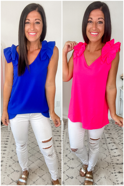 {Solid V Neck Ruffle Tank} *Final Sale*