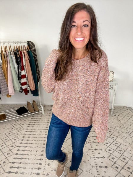 {Speckled Mauve Cable Knit Sweater} *Final Sale*
