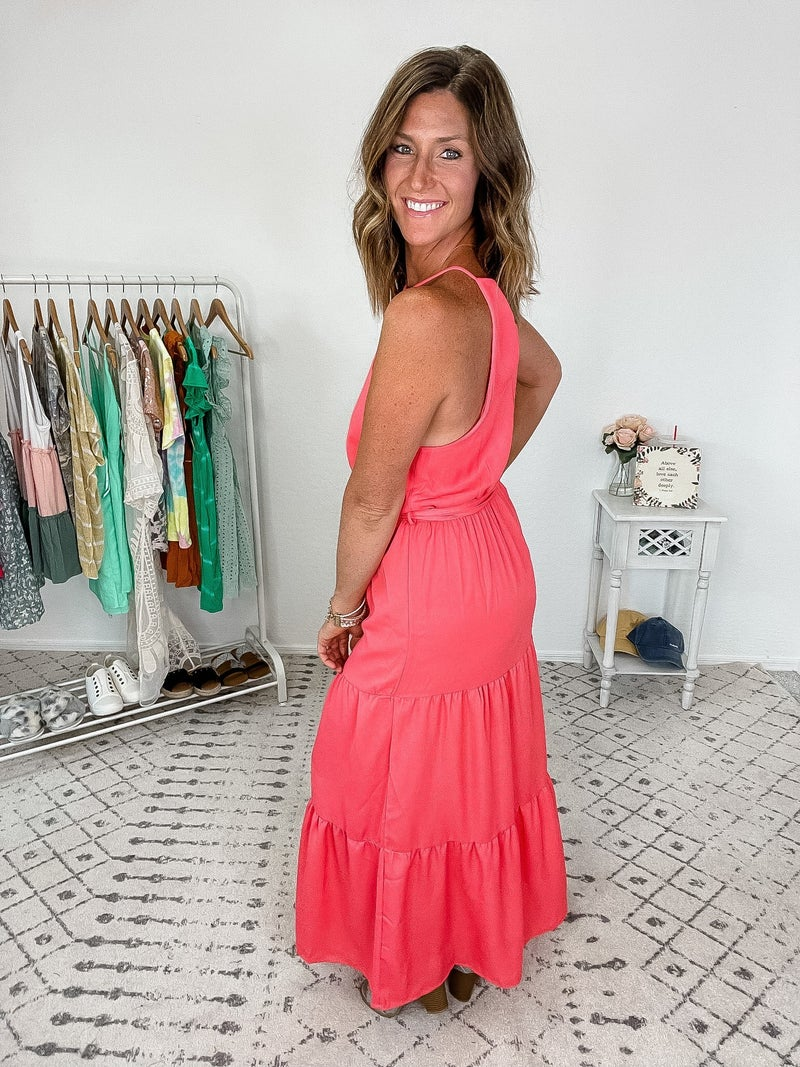 {Sleeveless Tiered Coral Dress} *Final Sale*