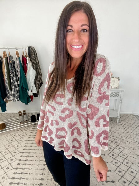 {Pink Leopard Sweater} *Final Sale*