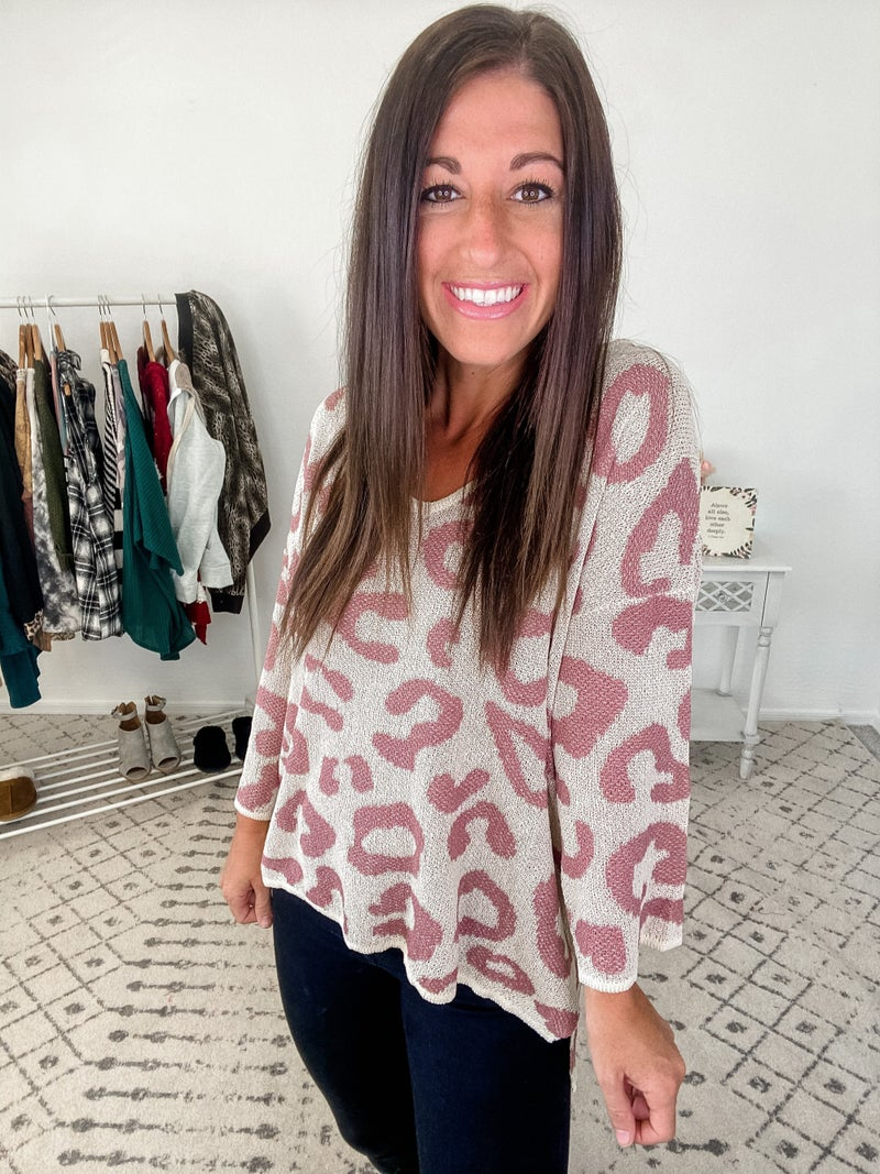 {Pink Leopard Sweater}