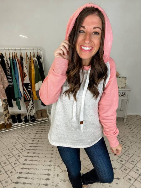 {Casual Oatmeal Pink Hoodie} *Final Sale*