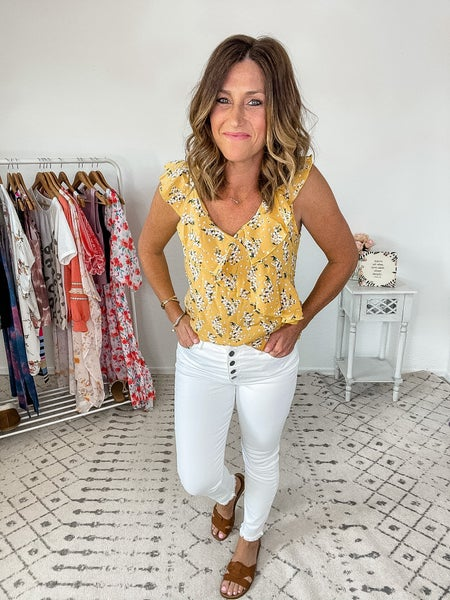 {Yellow Ruffled Floral Top}