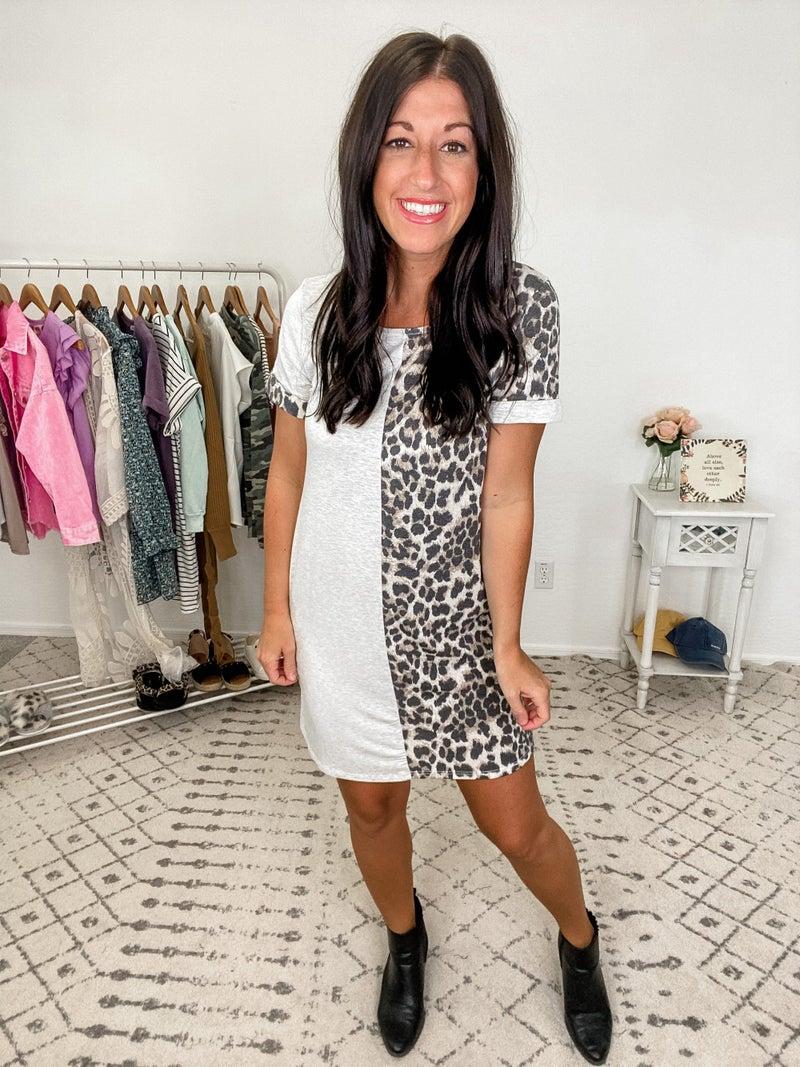 {Leopard Grey Block Midi Dress} *Final Sale*
