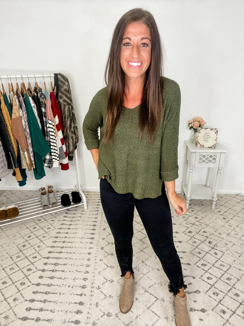 {Olive Crew Knit Sweater}