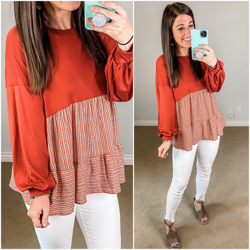{Rust BabyDoll Stripe Top} *Final Sale*