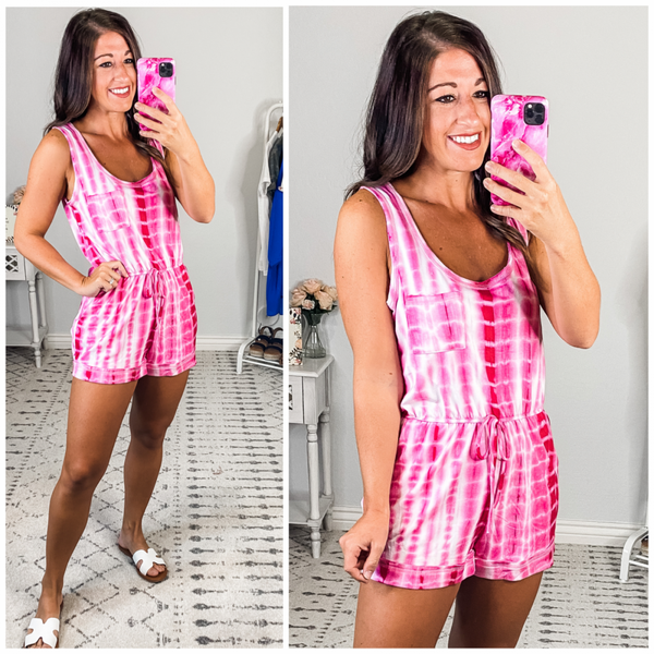 {Fuschia Tie Dye Romper} *Final Sale*