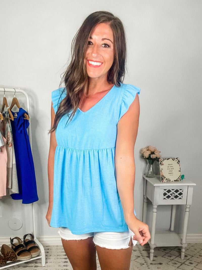 {Light Blue Ruffle Tank} *Final Sale*