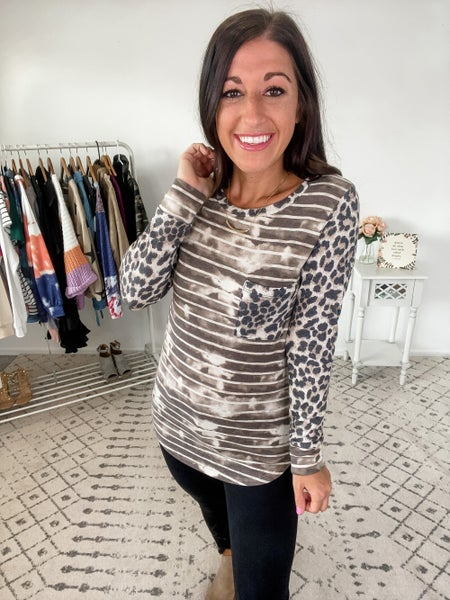 {Leopard Color Splotch Top} *Final Sale*